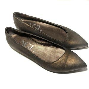 AGL Flats Slip On Bronze Brown Crackle Leather